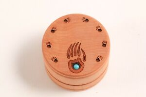 Mini Decorative Wood Trinket Ring Box Turquoise Stone Native SW Bear Claw Design
