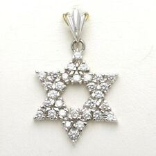 NEW 14k Diamond Jewish Star of David pendant 1.05 carat White gold  Judaica