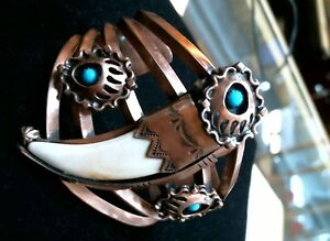 """Chaco Canyon Southwest Shell """"Bear Claw"""" Shaped Turquoise, Copper Bracelet"""
