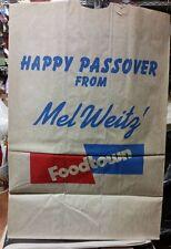VINTAGE MEL WEITZ FOODTOWN NEW YORK SUPERMARKET STORE PAPER BAG HAPPY PASSOVER