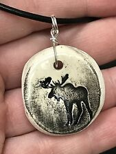 """Moose Worry Stone Handmade Pottery Native American 18"""" Black Rope Necklace B"""
