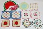 Lot of 12 Vintage Hand Crochet Pot Holders ~ Square Round 3D