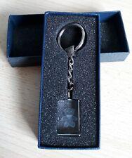 LASER ETCHED DRAGON KEYRING Solid Glass Block In Blue Presentation Gift Box