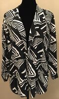 Chico's Womens Jacket Size 2 Black White Print Open Front V-Neck 3/4 Sleeve
