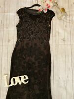 Phase Eight collection Size 12 black tape work beaded lace maxi ball gown dress