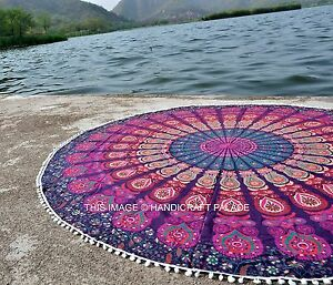 Indian Round Mandala Yoga Mat With Pom Pom Wall Hanging Beach Throw Tapestry