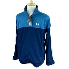 Under Armour Men's Fitted Sportstyle Pique Full Zip Blue Track Jacket NWT Large