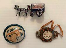 Rare Vintage Tin Cracker Jack Prizes Toy Lot: Horse & Wagon,Spin Top,Wrist Watch