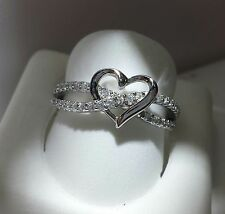 HEART SHAPE INFINITY PROMISE RING   925 SILVER .... SIZE 5
