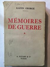 MEMOIRES DE GUERRE 1934 LLOYD GEORGE VOL 1
