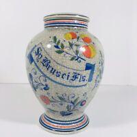 """Vintage Apothecary Sy Brusci Fls Pharmacy Jar Lid Otigari Japan 7"""" Tall Crackle"""