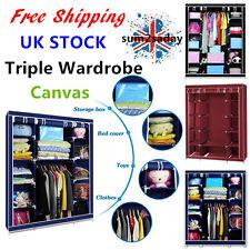 Triple Canvas Clothes Storage Organiser Wardrobe Cupboard Shelving Shelves POP