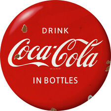 Drink Coca-Cola in Bottles Red Disc Decal 24 x 24 1930s Style Distressed