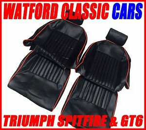 Triumph Spitfire/GT6 Vinyl Seat Covers & Headrest Covers Black with Red Piping