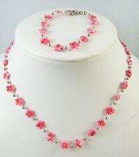 Pink Flower Necklace & Bracelet Set