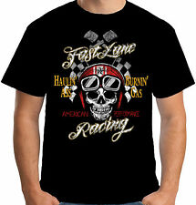 Velocitee Mens T-Shirt Fast Lane Racing Hot Rat Rod Skull Driver W17061