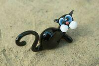 Cat glass figurine, Murano glass cat statuette: cat lovers gift, Glass blown cat