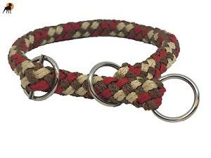 G2 Tauwerk Halsband mit Zugstop 12mm, geflochten, Ringe verchromt, Chestnut