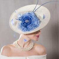 New Women's Kentucky Derby Church Wedding Noble Dress linen feather Sinamay hat@