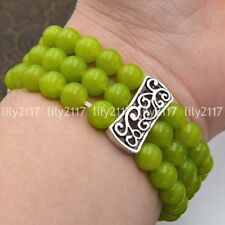Natural 3 rows 8mm Peridot Beads Stretch Tibetan silver Gems Bracelet 7.5'' AAA