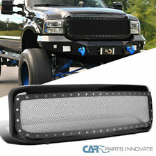 Ford 99-04 F250 F350 Super Duty Pickup Glossy Black Rivet Style Mesh Hood Grille