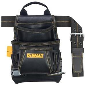 DeWALT DG5433 10-Pocket Carpenter's Top Grain Grain Leather Nail and Tool Bag