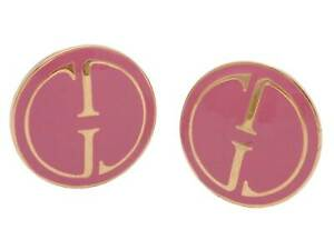 Auth Gucci GG Clip-on Earrings Gold/Pink Metal/Enamel - e49487f