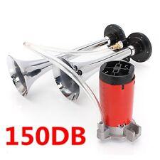 150DB 12V Air Horn Dual Trumpet Super Loud Compressor Twin Tone Boat Truck Lorry