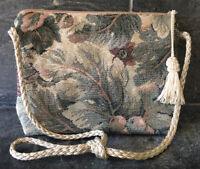 VTG 80s Floral Tapestry Bag THE CRANE COLLECTION Satin Rope Strap Tassel Zipper
