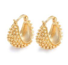 Vintage Womens Yellow Gold Plated cute Hedgehog punk mens hoop earrings
