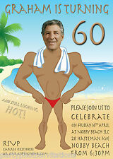 Beach muscle man invitation, Funny male adult birthday invitation, Caricature