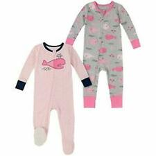 absorba Baby Girl's Toddler 2 Pack Sleeper Set, (Pink/Grey Whale, 12 Months)