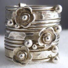 DAISY 11-STACK Nest Size US 10 3/4 SilverSari Solid 925 Sterling Silver STR1006