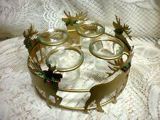 Gold Metal Christmas 5 Reindeer 4 Votive Candle Holder Decoration