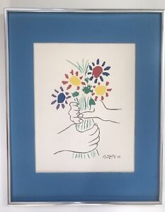 Lithograph By Pablo Picasso Titled Bouquet Of Peace. Good Condition. Aged