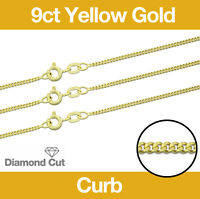 """9ct Yellow Gold Diamond Cut Curb Necklace Chain 16""""/18""""/20""""/22""""/24"""" Jewellery"""