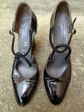 Vintage 70's Black Patent Wedge Heel Shoes by Pancaldi of Italy - Size UK 6
