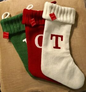 """Christmas stocking - 17"""" ribbed knit monogrammed initial stocking - NWT"""