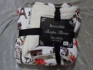 Holiday Paris Design Sherpa Throw Blanket Reversible Soft Warm 50x60 NEW!