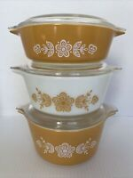 VTG PYREX 6pc Cinderella BUTTERFLY GOLD Casserole Dishes/Lids 471 472 473 EUC