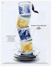 PUBLICITE ADVERTISING 094 1996 HERMES animaux bien dressés vaisselle