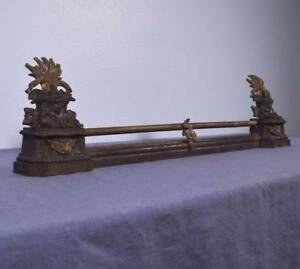 *Antique French Neoclassical Iron and Bronze Chenet Andirons Fireplace w/Wheat