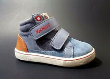 New $80 KICKERS Toddler Boys High Top Shoes LEATHER Blue Size 5 USA/21 EURO