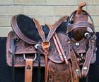 HORSE SADDLE WESTERN USED TRAIL BARREL RACING BEAUTIFUL LEATHER TACK 16 17 18
