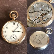 Rare Antique Waltham 23J Vanguard Railroad Gold Plated Pocket Watch C1919