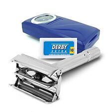 Shaving Factory Double Edge Safety Razor + Travel Case + Tweezer