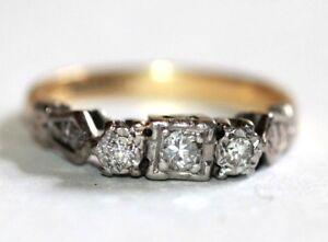 Art Deco 18 ct gold & platinum diamond three stone ring size N Engagement