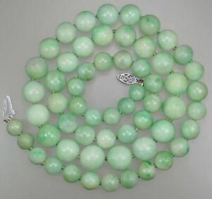 Pretty Antique Art Deco 14K Gold GIA Certified Jadeite Jade Bead Necklace 23''