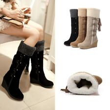 Womens Faux Fur Suede Snow Boots Knee High Boots Winter Warm Shoes Mid Calf Boot