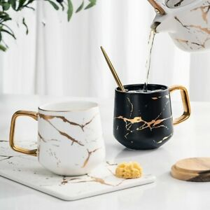 Creative Nordic Style Gold Marble Design Ceramic Coffee Tea Cup FAST delivery